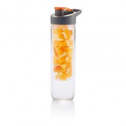 Loooqs, 800 ml, láhev s košíkem na ovoce, oranžová