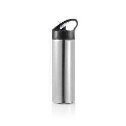 Sportovní láhev s brčkem Sport, 500 ml, XD Design, stříbrná/černá