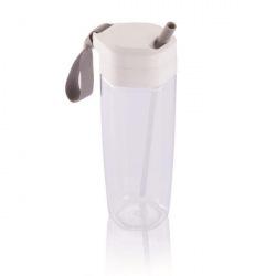 Sportovní láhev s brčkem Turner, 600 ml, XD Design, čirá/bílá