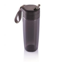 Sportovní láhev s brčkem Turner, 600 ml, XD Design, černá