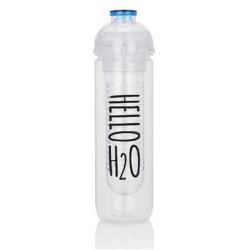 Láhev na vodu a ovoce Hello H2O, 500ml, Loooqs, čirá/modrá