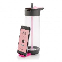 Láhev se stojánkem na telefon, 700 ml, Loooqs, 700 ml, čirá/šedá/růžová