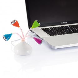 Loooqs, Květinový USB hub 4 port s LED světýlky, P300.561