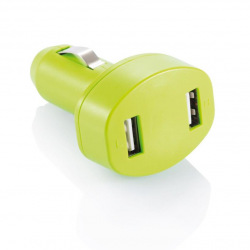 Nabíječka do auta se dvěma USB vstupy, Loooqs, limetková