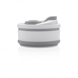 Skládací silikonový hrnek, XD Design, šedý/bílý